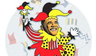 Farcical Obama Speech Illustration by Greg Groesch/The Washington Times