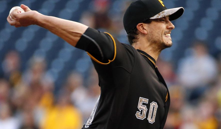 Pittsburgh Pirates' Charlie Morton (50) delivers during the first inning of a baseball game against the Miami Marlins in Pittsburgh, Monday, May 25, 2015. (AP Photo/Gene J. Puskar)
