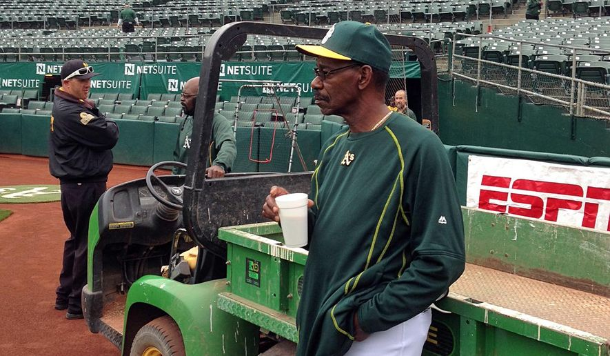 New Oakland Athletics coach Ron Washington is shown before a baseball game between the Athletics and Detroit Tigers in Oakland, Calif., Monday, May 25, 2015. (AP Photo/Janie McCauley)