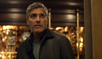 "This photo released by Disney shows, George Clooney, as Frank Walker, in a scene from Disney's ""Tomorrowland."" The film releases in U.S. theaters May 22, 2015. (Film Frame/Disney via AP)"
