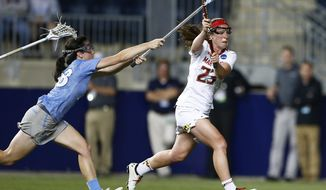 Maryland's Megan Whittle (23) scores a goal as North Carolina's Courtney Waite defends during the second half of the championship match in the NCAA Division I women's lacrosse tournament, Sunday, May 24, 2015, Chester, Pa. Maryland won the championship 9-8. (AP Photo/Rich Schultz) ** FILE **