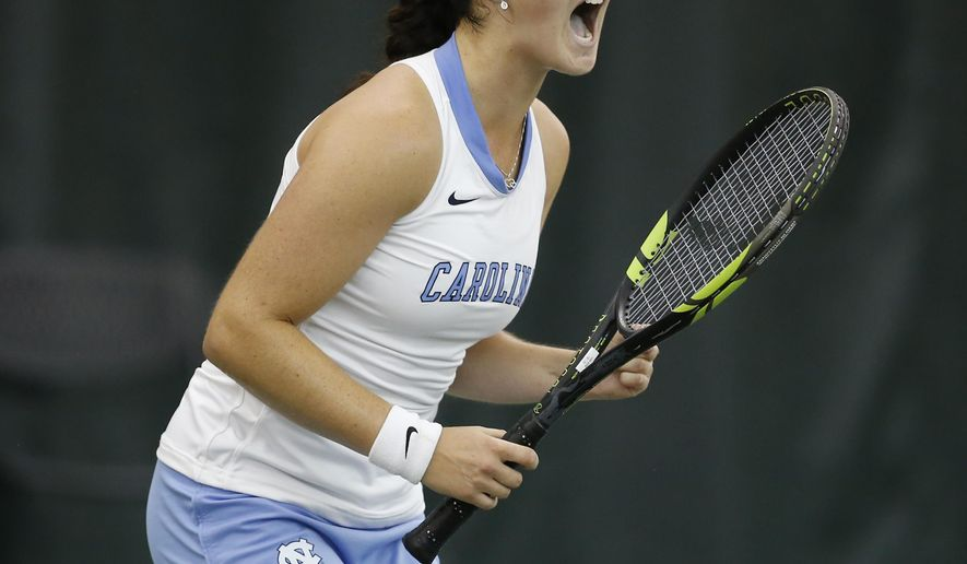 North Carolina's Jamie Loeb reacts to a point against Stanford's Carol Zhao during the NCAA women's singles tennis final Monday, May 25, 2015, in Waco, Texas. (AP Photo/Rod Aydelotte)