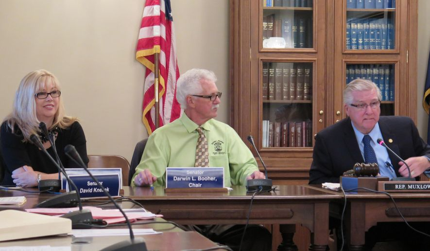 Members of the House-Senate community colleges conference committee meet to approve a 2015-16 spending plan on Tuesday, May 26, 2015 at the Capitol in Lansing, Mich. From left to right are Sen. Tonya Schuitmaker, R-Lawton; Sen. Darwin Booher, R-Evart; and Rep. Paul Muxlow, R-Brown City. (AP Photo/David Eggert)
