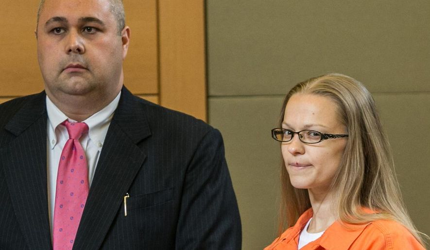 FILE - In a Wednesday, May 13, 2015 photo, Angelika Graswald, right, stands in court with Michael Archer a forensic scientist, as her attorneys ask for bail and to unseal the indictment against her during a hearing, in Goshen, N.Y.  Prosecutors said Tuesday, May 26, 2015, that the body of missing kayaker Vincent Viafore was found Saturday, May 23, 2015, three weeks after his fiancee, Graswald, was charged with killing him by tampering with his boat on an outing to a scenic island in the Hudson River, N.Y. (Allyse Pulliam/Times Herald-Record via AP, Pool, File)