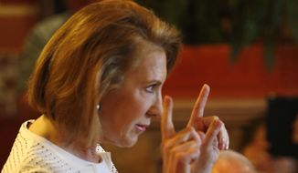 Republican presidential candidate, former Hewlett-Packard CEO Carly Fiorina, speaks at a luncheon hosted by the Derry Republican Town Committee, Tuesday, May 26, 2015, in Derry, N.H. (AP Photo/Jim Cole)