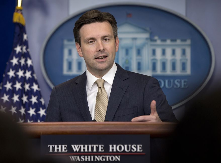 White House press secretary Josh Earnest speaks during the daily news briefing at the White House in Washington on May 26, 2015. (Associated Press) **FILE**