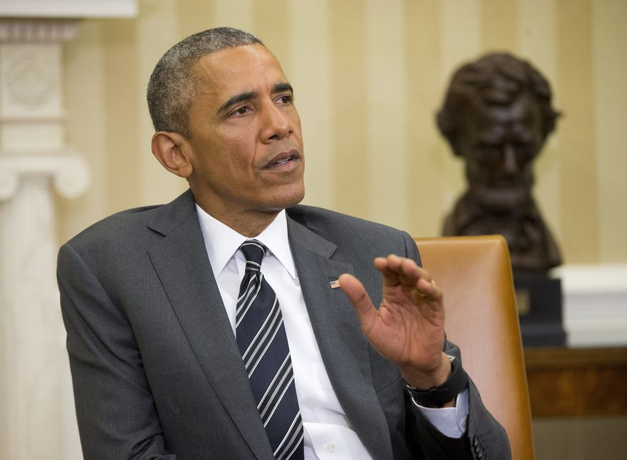 President Barack Obama speaks to members of the media during his meeting with NATO Secretary General Jens Stoltenberg, Tuesday, May 26, 2015, in the Oval Office of the White House in Washington. Obama began with commenting on flooding in Texas and calling on Senate to act on USA Freedom Act. (AP Photo/Pablo Martinez Monsivais)