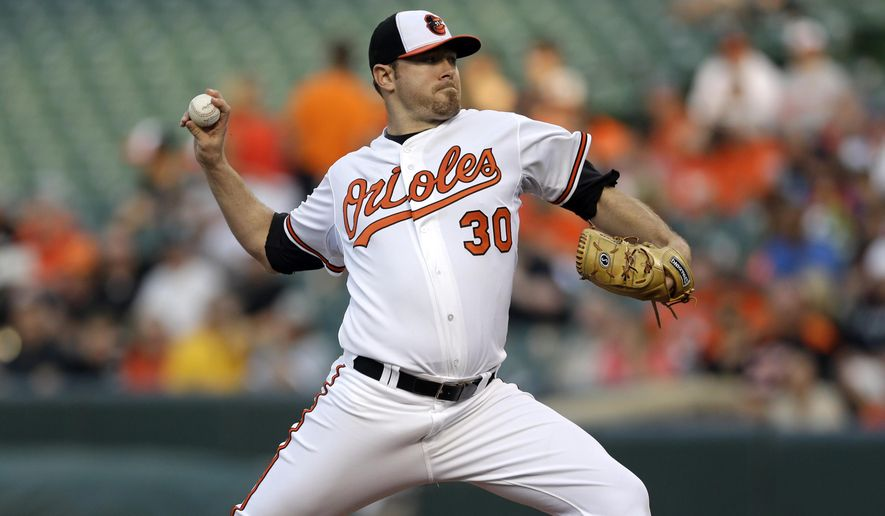 Baltimore Orioles starting pitcher Chris Tillman throws to the Houston Astros in the first inning of a baseball game, Tuesday, May 26, 2015, in Baltimore. (AP Photo/Patrick Semansky)