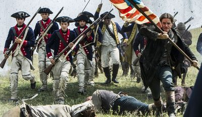 "Michael Raymond-James (Paul Revere, front right) stars in Lionsgate Home Entertainment's ""Sons of Liberty,"" now on Blu-ray."