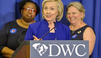 Democratic presidential candidate, former Secretary of State Hillary Rodham Clinton speaks to South Carolina House Democratic Women's Caucus and Women's Council, Wednesday, May 27, 2015, in Columbia, S.C.  (AP Photo/Richard Shiro)