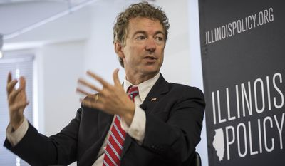 Republican presidential candidate, Sen. Rand Paul, R-Ky., speaks at an Illinois Policy Institute event Wednesday, May 27, 2015, in Chicago. (Rich Hein/Sun-Times Media via AP) MANDATORY CREDIT, MAGAZINES OUT, NO SALES; CHICAGO TRIBUNE OUT