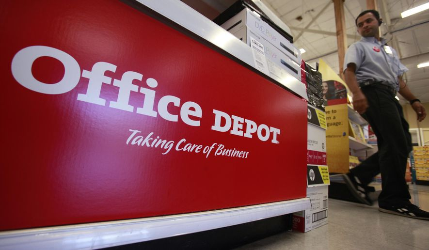 This July 12, 2010 file photo shows signage at an Office Depot store in Mountain View, Calif. (AP Photo/Paul Sakuma, File)