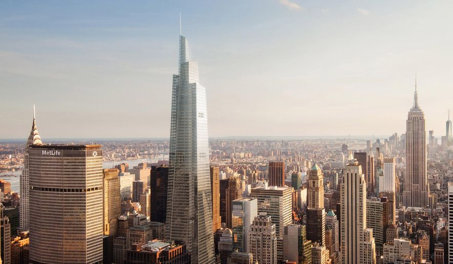 In this artist's rendering provided by BerlinRosen for SL Green Realty Corp., One Vanderbilt, center, rises above midtown Manhattan in New York. City officials cleared the way on Wednesday, May 27, 2015, for construction of the new, 65-story Manhattan skyscraper after the developer made an unusual tradeoff: a promise to make sweeping upgrades to nearby Grand Central Terminal that would allow more rush-hour trains on the subway's busiest lines. (Studio AMD/Kohn Pedersen Fox Associates/L Green Realty Corp. via AP)
