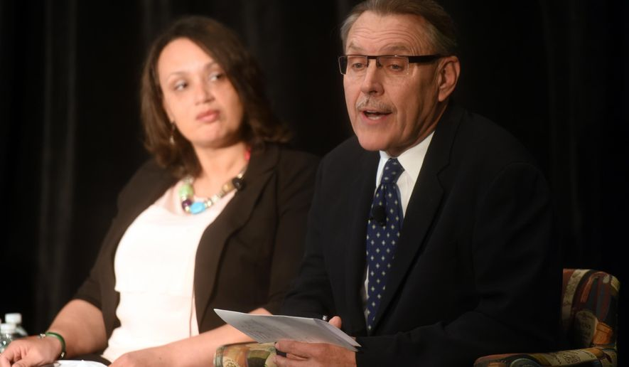 Tonya Allen, left, president and CEO of The Skillman Foundation, and John Rakolta Jr., CEO of Walbridge speak on Detroit's education struggles at the Mackinac Policy Conference, Wednesday, May 27, 2015 on Mackinac Island, Mich. Prominent Detroit-area business and community leaders say the Republican-led Legislature has no excuse to ignore Detroit Public School's debt because the state ultimately is constitutionally responsible for it.  (Tanya Moutzalias/The Ann Arbor News via AP) LOCAL TELEVISION OUT; LOCAL INTERNET OUT