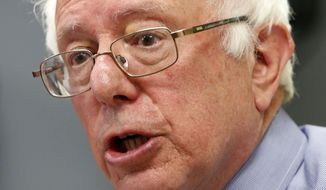 Democratic presidential candidate Sen. Bernie Sanders, I-Vt, speaks at a town hall style meeting, Wednesday, May 27, 2015, in Concord, N.H. (AP Photo/Jim Cole)