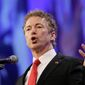 """ISIS exists and grew stronger because of the hawks in our party who gave arms indiscriminately,"" said Republican presidential hopeful Rand Paul. ""And most of those arms were snatched up by ISIS."" (Associated Press) ** FILE **"