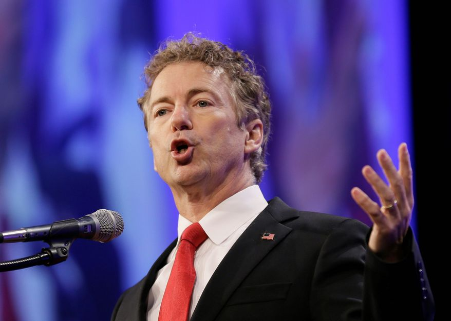 """""""ISIS exists and grew stronger because of the hawks in our party who gave arms indiscriminately,"""" said Republican presidential hopeful Rand Paul. """"And most of those arms were snatched up by ISIS."""" (Associated Press) ** FILE **"""
