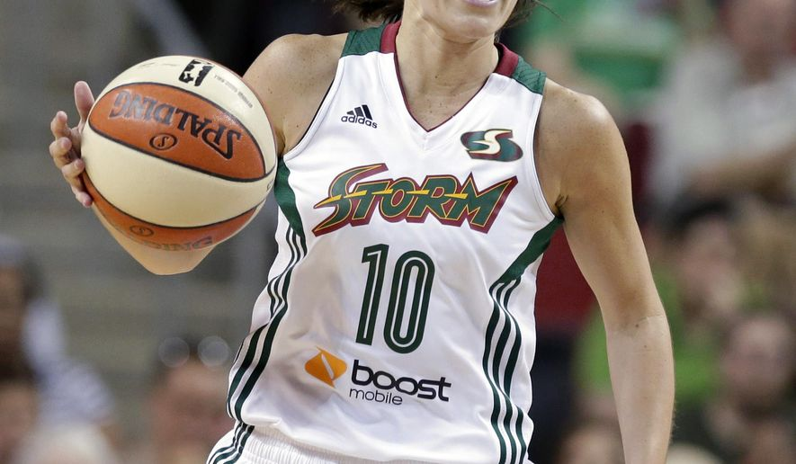 FILE - In this July 31, 2014 file photo, Seattle Storm's Sue Bird plays against the Indiana Fever in a WNBA basketball game in Seattle. Now 34 and part of an overhauled Seattle Storm roster with two new stars 13 years her junior, Bird is adding a new role to her professional resume: mentor. (AP Photo/Elaine Thompson, File)