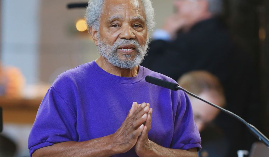Neb. state Sen. Ernie Chambers of Omaha speaks in Lincoln, Neb., Wednesday, May 27, 2015, during debate on overriding Gov. Pete Ricketts' veto of a death penalty repeal bill, in a vote that would make it the first traditionally conservative state to abolish capital punishment in more than four decades. (AP Photo/Nati Harnik)