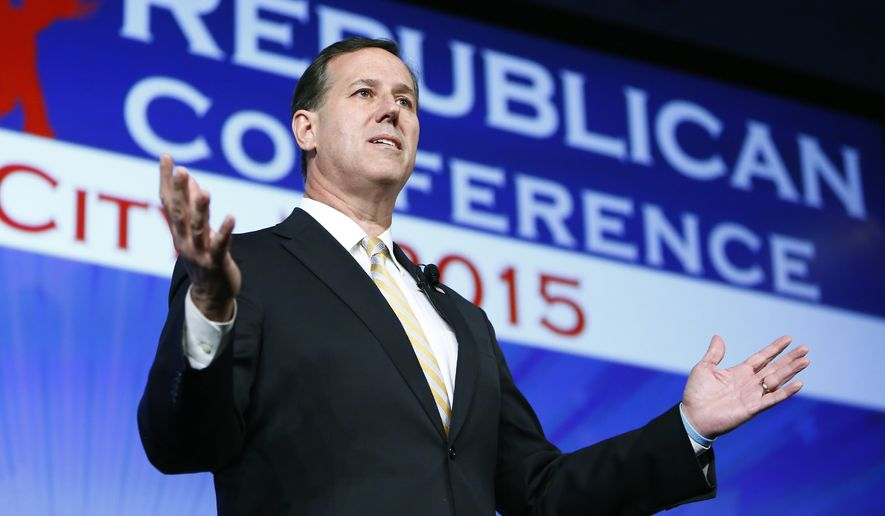 FILE - In this photo taken on May 21, 2015 file photo, former Pennsylvania Sen. Rick Santorum speaks at the Southern Republican Leadership Conference in Oklahoma City. He exceeded the political world's expectations by scoring a second-place finish in the race for the Republican presidential nomination four years ago. Yet as he readies a second White House run, Santorum may struggle even to qualify for the debate stage in 2016. An aggressive advocate for conservative family values, the 57-year-old Republican is announcing his presidential intentions on Wednesday, May 27, 2015.  (AP Photo/Alonzo Adams, File)