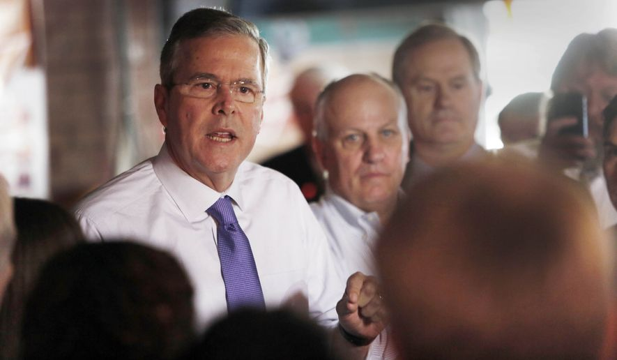 In this May 21, 2015, file photo, former Florida Gov. Jeb Bush speaks to a morning crowd at the Draft restaurant in Concord, N.H. During his transition from Florida governor to likely presidential candidate, Jeb Bush served on the boards or as an adviser to at least 15 companies and nonprofits, a dizzying array of corporate connections that earned him millions of dollars and occasional headaches.  (AP Photo/Jim Cole, File)