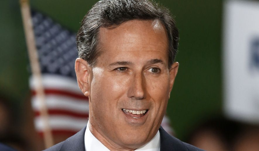Former U.S. Sen. Rick Santorum announces his candidacy for the Republican nomination for President of the United States in the 2016 election on Wednesday, May 27, 2015 in Cabot, Pa. (Associated Press) ** FILE **