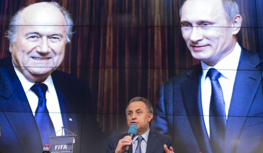FILE - This is a  Wednesday, April 29, 2015 file photo of Russian Sports Minister Vitaly Mutko as he speaks during a press conference on World Cup 2018 issues in Moscow, Russia. Swiss federal prosecutors opened criminal proceedings related to the awarding of the 2018 and 2022 World Cups, throwing FIFA deeper into crisis only hours after seven soccer officials were arrested and 14 indicted Wednesday in a separate U.S. corruption probe.(AP Photo/Alexander Zemlianichenko, file)