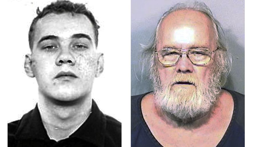 This pair of photo shows shows Harold Frank Freshwaters, left, in a Feb. 26, 1959 Ohio State Reformatory photo released by the U.S. Marshals Service, and right, in a May 4, 2015, booking photo released by the Brevard County Sheriff's Office. Freshwaters, 79, of Akron, Ohio, was arrested by U.S. Marshals on May 4, 2015 by in Melbourne, Fla. He was convicted of voluntary manslaughter for killing a pedestrian with his car in 1957. Freshwaters initially received a suspended sentence but was imprisoned in 1959 for a parole violation. He fled a prison farm in northwest Ohio later that year. (AP Photo/Ohio State Reformatory and Brevard County Sheriff's Office)