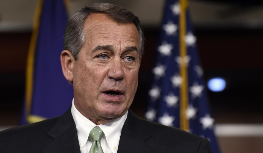 In this May 21, 2015 file photo, House Speaker John Boehner of Ohio speaks during a news conference on Capitol Hill. (AP Photo/Susan Walsh, File)