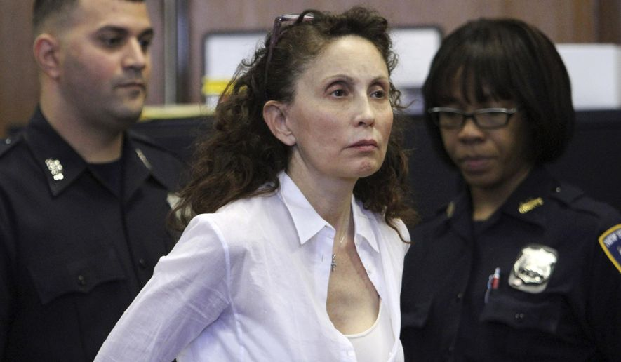 FILE - In this Aug. 11, 2011, file photo, Gigi Jordan, the multimillionaire mother charged with killing her autistic 8-year-old son, appears in Manhattan Supreme court in New York. Jordan was sentenced Thursday, May 28, 2015, to 18 years in prison. (AP Photo/Mary Altaffer, File)