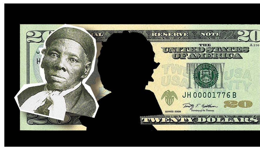 Illustration on the move to remove Andrew Jackson from the twenty dollar bill by Alexander Hunter/The Washington Times