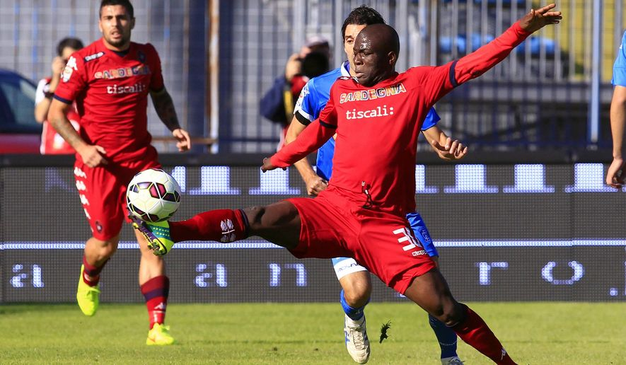 FILE - In this Oct. 25, 2014 file photo, Cagliari's Godfred Donsah, right, controls the ball during a Serie A soccer match between Cagliari and Empoli, in Empoli, Italy. The FIFA Under-20 World Cup which starts in New Zealand on Saturday, May 30, will be a showcase of the new generation of talent that will populate those leagues in years to come. (AP Photo/Paolo Lazzeroni,File)