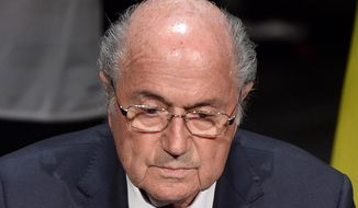 FIFA President Sepp Blatter speaks at the opening ceremony of the FIFA congress in Zuerich, Switzerland, Thursday, May 28, 2015. The FIFA congress with the president's election is scheduled for Friday, May 29, 2015 in Zurich. (Walter Bieri/Keystone via AP)