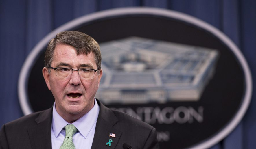 Defense Secretary Ash Carter speaks at the Pentagon in this May 1, 2015, file photo. (AP Photo/Manuel Balce Ceneta)