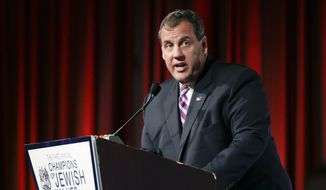 New Jersey Gov. Chris Christie speaks at the Third Annual Champions of Jewish Values International Awards Gala, Thursday, May 28, 2015, in New York. (AP Photo/Julie Jacobson) ** FILE **