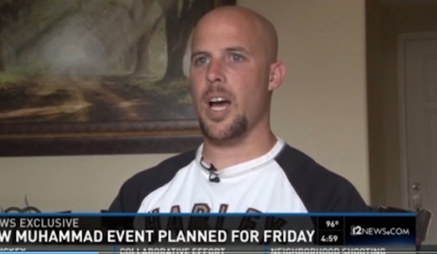"Hundreds of protesters gathered outside a ""draw Muhammad"" contest Friday sponsored by ex-Marine Jon Ritzheimer in Phoenix, but there were no arrests or violence. (12 News)"
