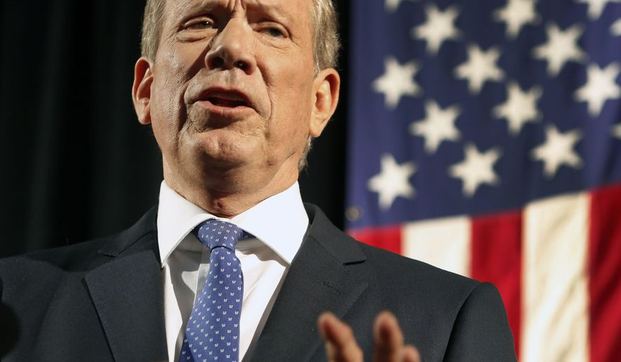 Former New York Gov. George Pataki announces his plans to seek the Republican nomination for president, Thursday, May 28, 2015, at the historic town hall in Exeter, N.H.  (AP Photo/Jim Cole)