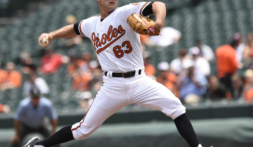 Baltimore Orioles starting pitcher Tyler Wilson delivers against the Chicago White Sox in the first inning of the first baseball game of a doubleheader Thursday, May 28, 2015, in Baltimore. (AP Photo/Gail Burton)