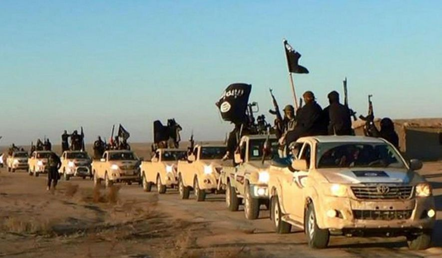 In this undated file photo released by a militant website, which has been verified and is consistent with other AP reporting, militants of the Islamic State group hold up their weapons and wave its flags on their vehicles in a convoy on a road leading to Iraq, while riding in Raqqa city in Syria. (Militant website via AP, file)