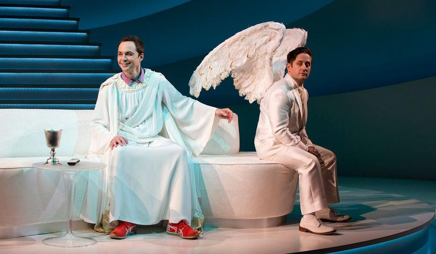 "This 2015 photo provided by Polk & Company shows, Jim Parsons, left, and Christopher Fitzgerald, in the play, ""An Act of God,"" by David Javerbaum. (Jeremy Daniel/Polk & Company via AP)"
