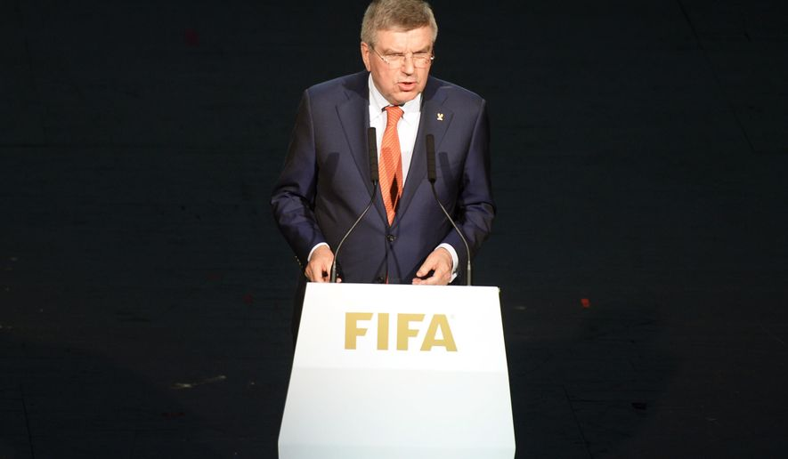 President of the International Olympic Committee, IOC, Thomas Bach delivers a speech at the opening ceremony of the FIFA congress in Zuerich, Switzerland on Thursday May 28, 2015. The FIFA congress with the president's election is scheduled for Friday, May 29, 2015 in Zurich. (Walter Bieri/Keystone via AP)