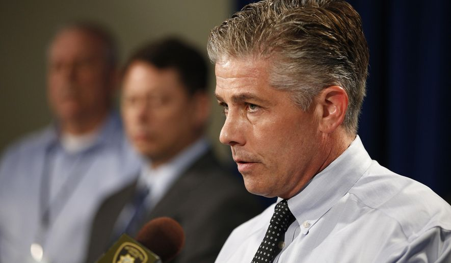 Lt. Dan McGrath of the Las Vegas police department speaks about the arrest of school bus driver Michael Ray Banco Friday, May 29, 2015, in Las Vegas. Banco is accused of sexually assaulting young children on his bus route. (AP Photo/John Locher)