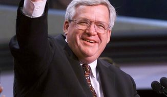 "FILE - In this July 31, 2000 file photo, House Speaker Dennis Hastert of Ill. gives a thumbs up after taking over as chairman of the Republican National Convention in Philadelphia. Hastert's career as House speaker both arose and ended amid the sex-related scandals of others. Now, eight years after leaving Congress, Hastert's own legacy is threatened by an indictment charging financial misdeeds _ and cryptically referring to ""misconduct"" against an unnamed person.  (AP Photo/Amy Sancetta, File)"