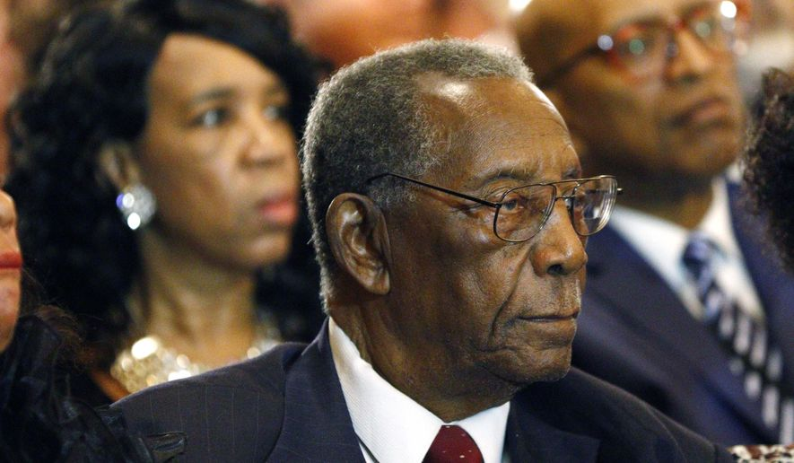 Charles Evers, brother of slain civil rights leader Medgar Evers, attends the funeral for blues legend B.B. King at Bell Grove Missionary Baptist Church in Indianola, Miss., on May 30, 2015. (Associated Press) **FILE**