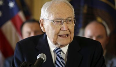 FILE - This March 4, 2015, file photo, L. Tom Perry, the second-most senior member of the high-level Mormon governing body called the Quorum of the Twelve Apostles, speaks during a news conference at the Utah State Capitol in Salt Lake City. Perry died Saturday, May 30, 2015, surrounded by his family at his Salt Lake City home, church spokesman Eric Hawkins said in a statement. He was 92. Perry was diagnosed with cancer in late April after being hospitalized with breathing trouble.(AP Photo/Rick Bowmer, File)