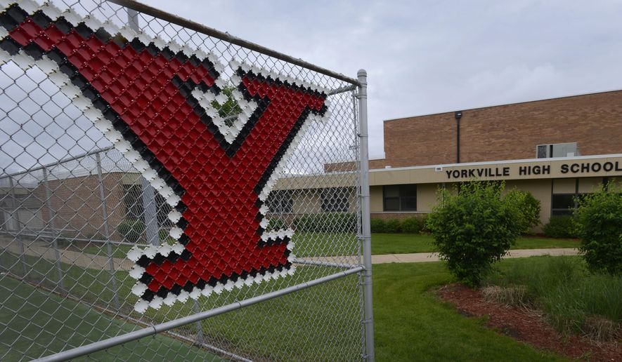 Former Yorkville High School building where former Speaker of the House Dennis Hastert coached wrestling from 1965-1981 in Yorkville, Illinois, Saturday, May 30, 2015. (AP Photo/Paul Beaty)
