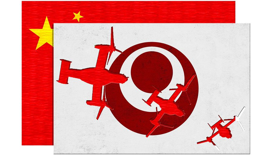 Illustration on China's pressures for a neutral Okinawa by Greg Groesch/The Washington Times