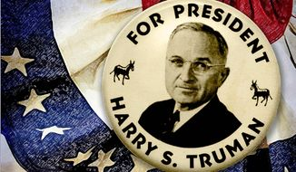 Truman Campaign Button Illustration by Greg Groesch/The Washington Times