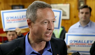 Former Maryland Gov. Martin O'Malley speaks to the media during a campaign stop at Goldenrod Drive-in Restaurant, Sunday, May 31, 2015, in Manchester, N.H. (AP Photo/Mary Schwalm) ** FILE **