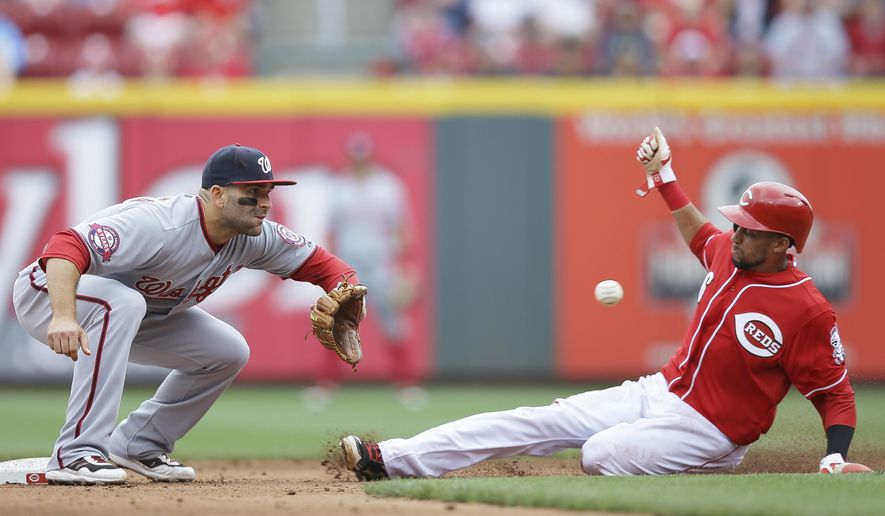 Cincinnati Reds' Billy Hamilton, right, steals second against Washington Nationals second baseman Danny Espinosa in the seventh inning of a baseball game, Sunday, May 31, 2015, in Cincinnati. (AP Photo/John Minchillo)